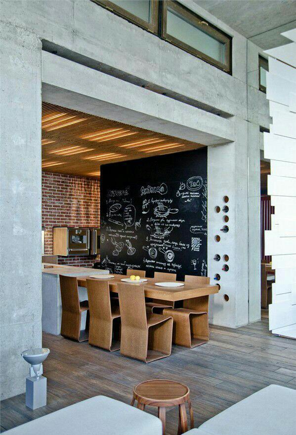 استفاده از تخته سیاه بعنوان دکوراسیون خانه – نشیمن ، آشپزخانه
