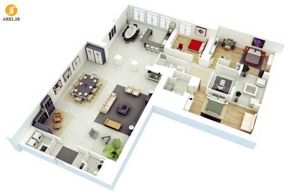 معرفی 50 پلان برای آپارتمان های سه خوابه