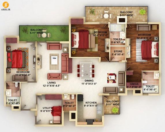 معرفی 50 پلان برای آپارتمان های چهار خوابه